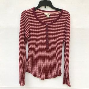 Lucky Brand 100% Cotton Maroon Henley Top Size S